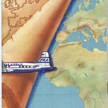 Vintage Pan American Route Map Brochure