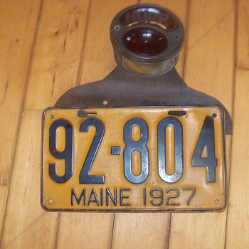 1927 Hubmobile License plate and red Lamp Original- Admiral Byrd's vehicle - Signs