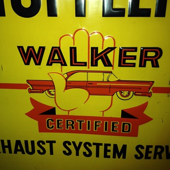 1950's Walker Mufflers Tin Sign...Certified Exhaust System Service - Advertising