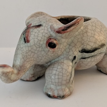 Antique German Pottery Elephant Unknown Mark - Pottery