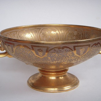 Large gold leafed Porcelain bowl~faces on handles, extensive Incised design~Art Nouveau Style - Art Nouveau