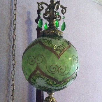 Green Glass Globe Swag Lamp - Lamps
