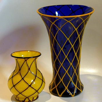 2 Lötz vases, unknown Ausführung  from ca. 1918, Powolny style. - Art Glass