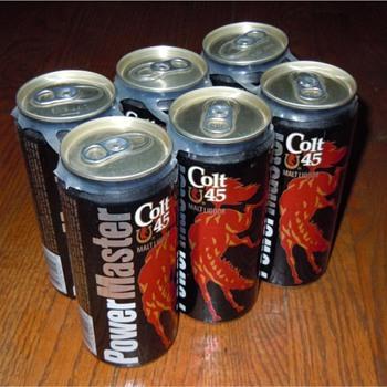 Controversial 1991 Colt45 PowerMaster Malt Liquor 16oz (Pint) Beer Can - Breweriana