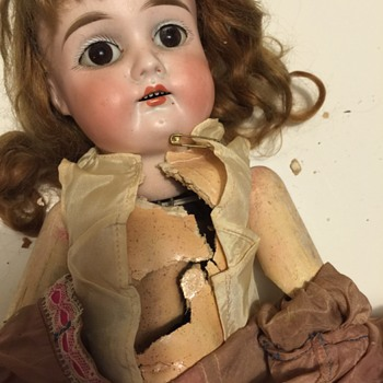 Busted Up Unmarked Antique Bisque Socket Head Doll w/ Mache body and wooden upper limbs