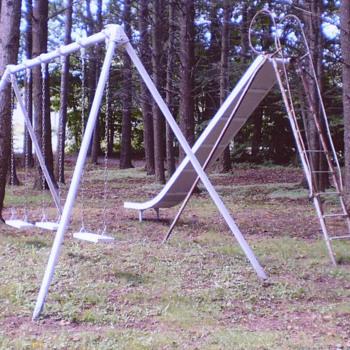 Antique School Playground 16' Bent Wood EverWear Childrens Slide Kids Swing Set - Toys