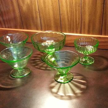 Anchor Hocking BLOCK OPTIC GREEN Champagne Sherbet Glass 9068896
