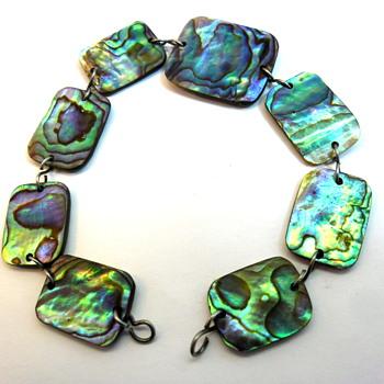 Vintage Paua Shell Bracelet - Costume Jewelry
