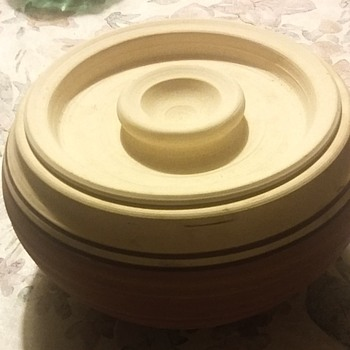 Unfinished clay pot with signature - Pottery