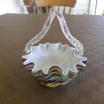 Bohemian Welz? Ruckl? Basket - Art Glass