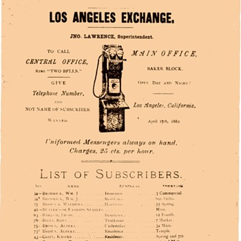Los Angeles Telephone Co. 1882