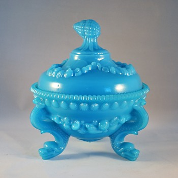 Blue Milk Glass Compote - Glassware