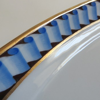 Large Porcelain Platter~Gorgeous furled ribbon border with gold edge, Mark Unknown