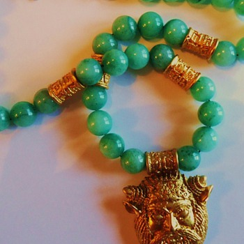 Jade necklace with Greek Goat God Pan, from thrift store auction - Fine Jewelry