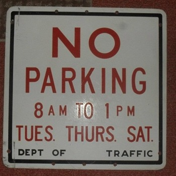 "1950s ""NO PARKING"" sign from New York City - Signs"
