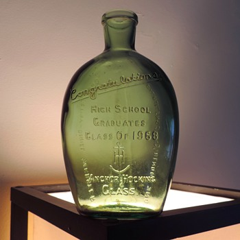 1968 Geibel High School Graduates Flask Bottle Connellsville Anchor Hocking Green Embossed - Bottles