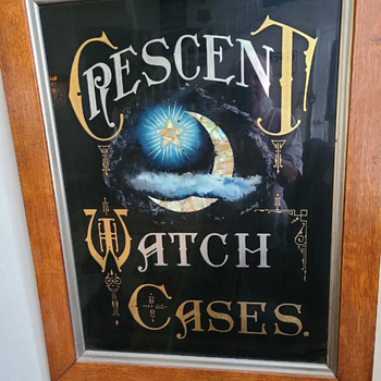 Reverse painted crescent watch case sign - Signs