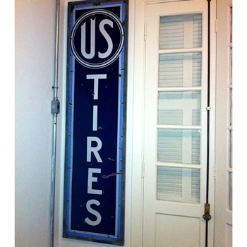 U S Tires Porcelain Sign