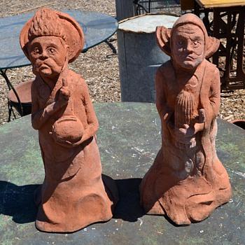 Bizarre Sculptures - Saint Figures Carrying a Toaster and a Cactus - Pottery