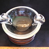 Vintage Steuben Glass Crystal Double Sided Crimped Handles Ashtray