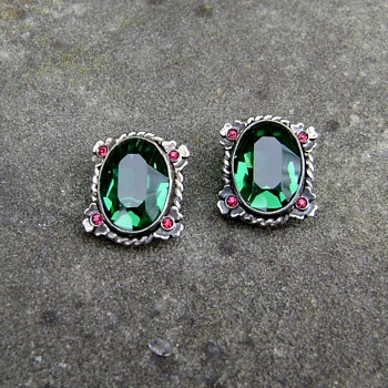 Vintage Unsigned Reja Sterling Earrings 1940's - Costume Jewelry