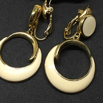 Trifari cream earrings  - Costume Jewelry