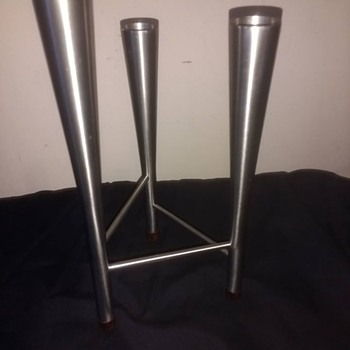 "Vintage retro Tripod stainless steel ""Hans Jenson"" Danish style candlesticks 50s thru to 70s."