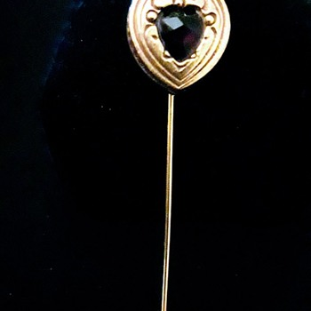 My Grandma's 9Kt Gold Hat Pin With a Garnet Gemstone - Fine Jewelry