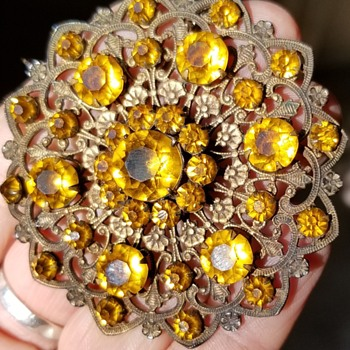 Vintage Rhinestone Brooch - Costume Jewelry