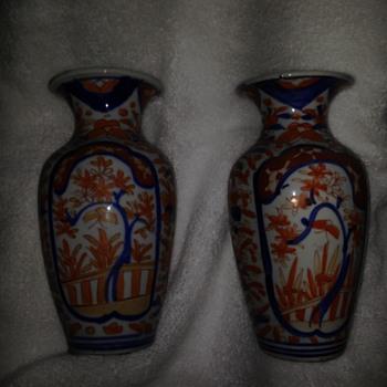 Imari pair of vases
