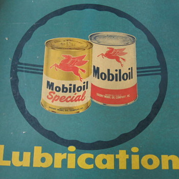 Lg 1940's early 50's Hanging Mobiloil Lubrication Chart - Petroliana