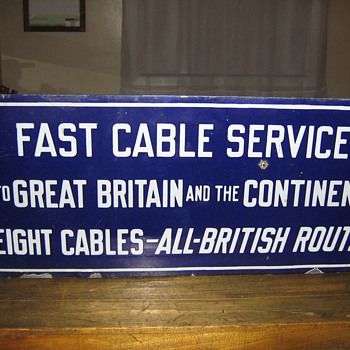 early enamel cable sign - Telephones