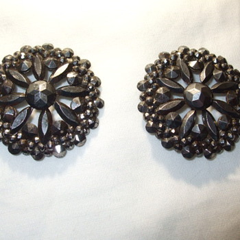 Pair of Elaborate Georgian/Victorian CUT STEEL Shoe Buckles - Victorian Era