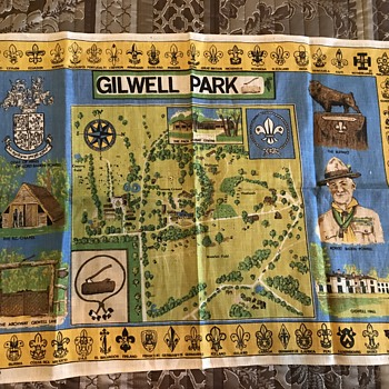 Mid century fabric collectors weekly gilwell park map printed on irish linen from 40s or 50s gumiabroncs Image collections