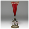 "Victorian ""Stevens&William"" Cranberry Glass Epergne and a Silver-plate-mount, Late 1800"