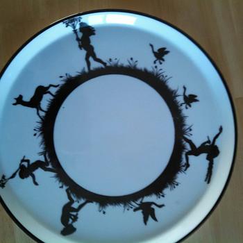 Nippon Plate black and white handpainted dancing children - China and Dinnerware