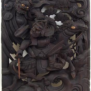 Large 18th c. Japanese Wood Carving of Watanabe no Tsuna