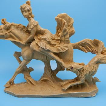 Unidentifed Sculpture - Woman on Horseback, Fox or Wolf Chasing - Fine Art