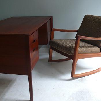 wilhelm renz desk & france & son rocker - Mid-Century Modern