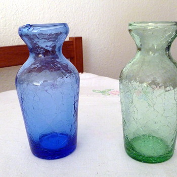 Two Crackle Colored Glass Bulb Forcing Vases (hyacinth) - Art Glass