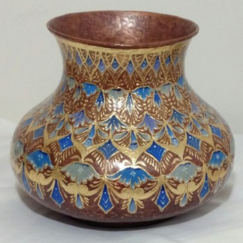 Hand-Painted Enameled Copper Vase