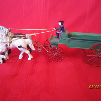 Original Early 1900's Kenton Made in USA Antique Cast Iron Horse Drawn Metal Carriage w/ Coachman - Model Cars