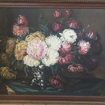 Painting of still life flowers on table  - Fine Art