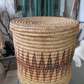 "Large 15"" Lidded Handmade Coiled Basket Mystery - Furniture"