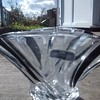NewGrange Waterford Crystal Vase bowl table centerpiece with spiral effect in black and clear glass.