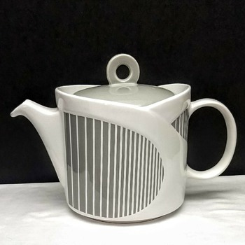 Sadler England Mid Century Modern Style Gray Grey & White Stripe Teapot - China and Dinnerware