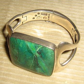 Circa 1955 Sigi Pineda azurite or chrysocolla sterling bracelet - Fine Jewelry
