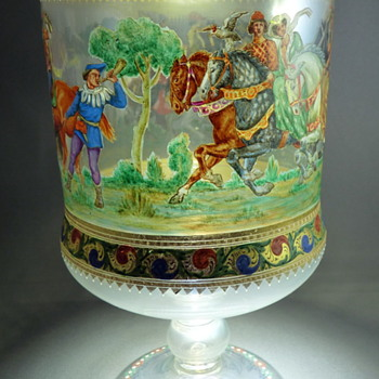 Handpainted enameled cup from Venezia - Art Glass