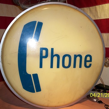 "My 24"" Dual Sided Illuminated Phone Booth Sign ! - Telephones"