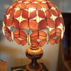 Pair of  Hawaiian Style Lamps Carved Koa with Seashell Butterfly Shades